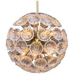 Beautiful Sputnik Chandelier Brass Glass Dandelion, Midcentury