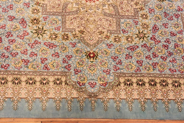Beautiful Square Silk Vintage Persian Qum Rug , Country of Origin / Rug Type: Vintage Persian Rug, Circa Date: Late 20th Century - Size: 3 ft 1 in x 3 ft 3 in (0.94 m x 0.99 m).