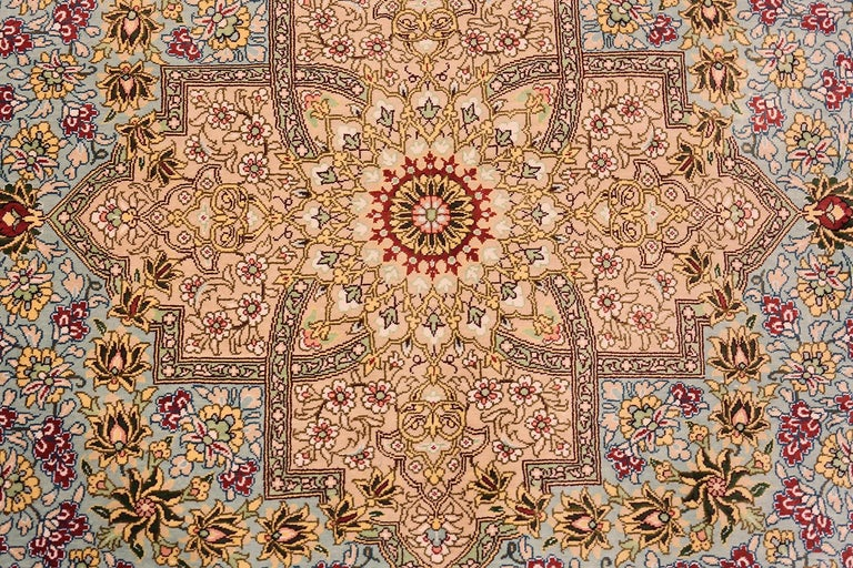 Tabriz Beautiful Square Silk Vintage Persian Qum Rug. 3 ft 1 in x 3 ft 3 in For Sale