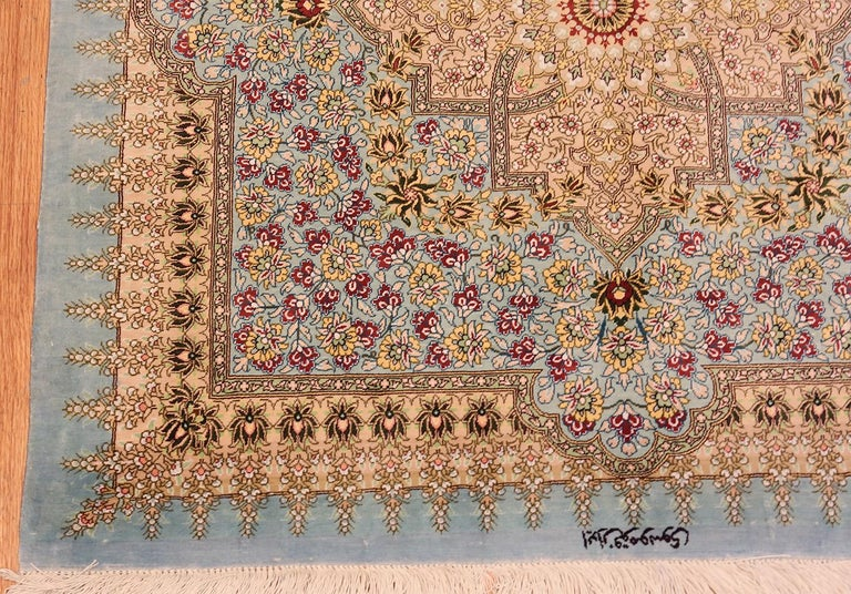 Hand-Knotted Beautiful Square Silk Vintage Persian Qum Rug. 3 ft 1 in x 3 ft 3 in For Sale