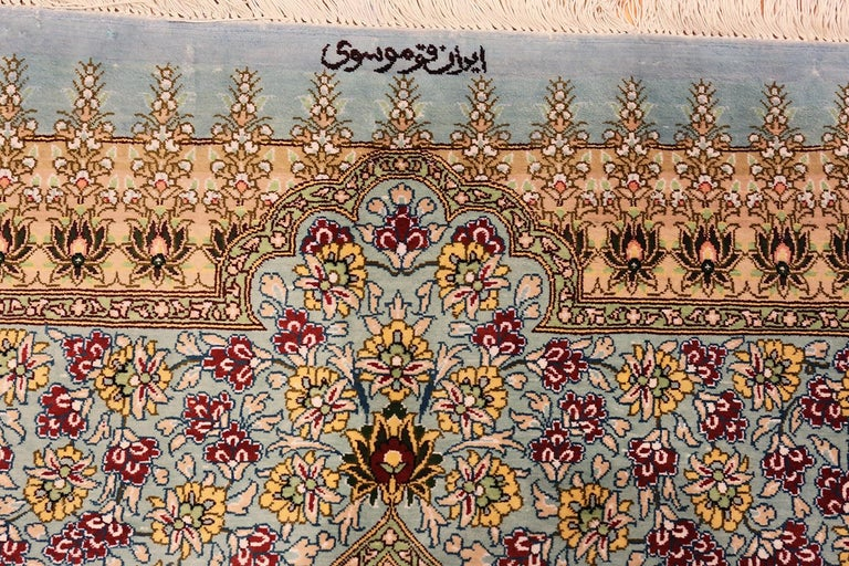 Beautiful Square Silk Vintage Persian Qum Rug. 3 ft 1 in x 3 ft 3 in In Good Condition For Sale In New York, NY