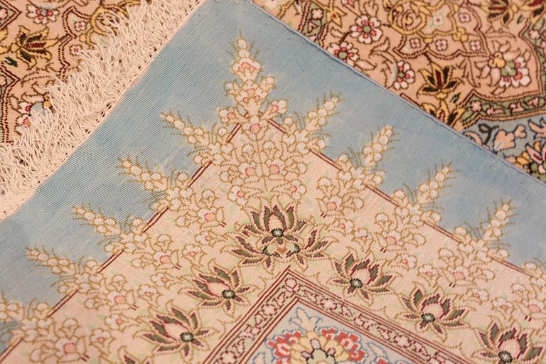 20th Century Beautiful Square Silk Vintage Persian Qum Rug. 3 ft 1 in x 3 ft 3 in For Sale