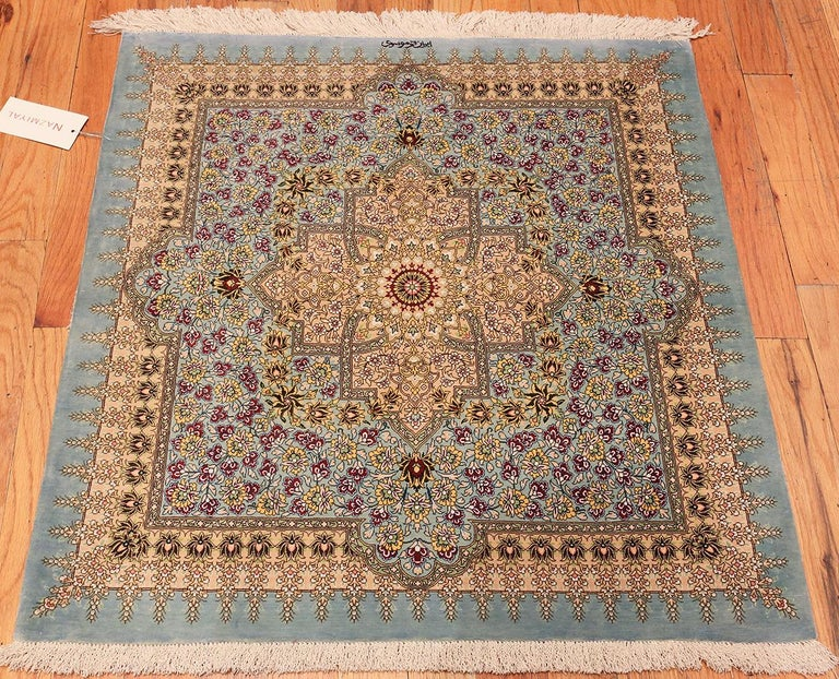 Beautiful Square Silk Vintage Persian Qum Rug. 3 ft 1 in x 3 ft 3 in For Sale 1