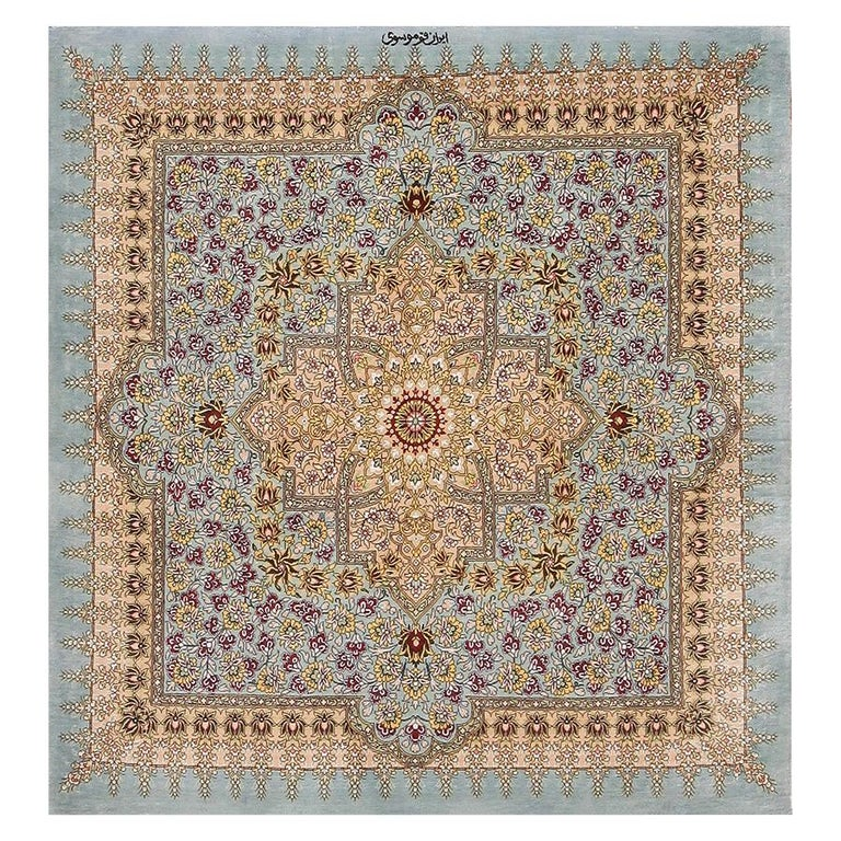 Beautiful Square Silk Vintage Persian Qum Rug. 3 ft 1 in x 3 ft 3 in For Sale