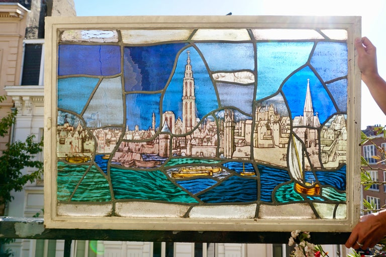 Folk Art Beautiful Stained Glass Window with a View of the Old Antwerp with the Cathedral For Sale