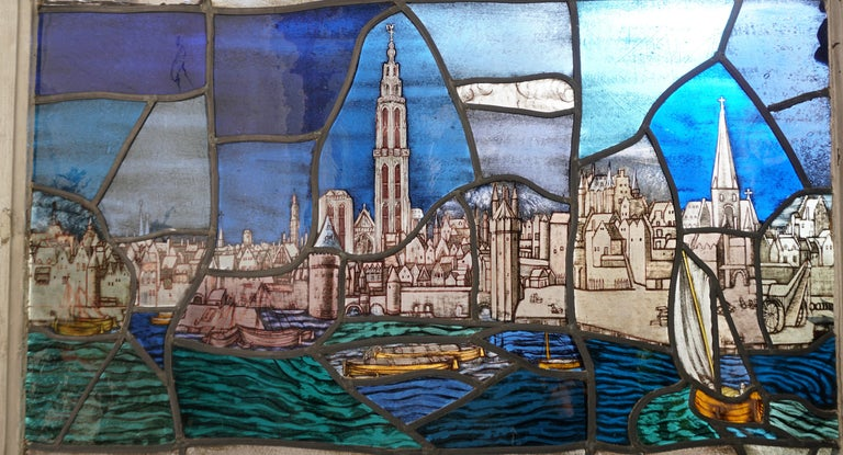Belgian Beautiful Stained Glass Window with a View of the Old Antwerp with the Cathedral For Sale