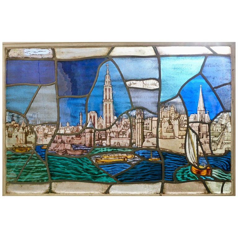 Beautiful Stained Glass Window with a View of the Old Antwerp with the Cathedral For Sale
