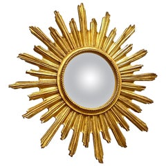 Beautiful Starburst Sunburst Gilded Convex Mirror, circa 1960s