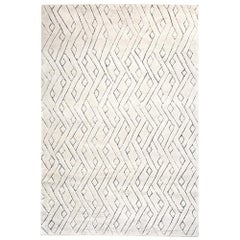Beautiful, Striking Geometric Customizable Rebel Weave Rug in Cream Large