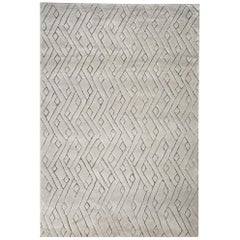 Beautiful, Striking Geometric Customizable Rebel Weave Rug in Grey Extra Large