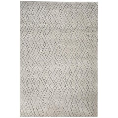 Beautiful, Striking Geometric Customizable Rebel Weave Rug in Grey Large