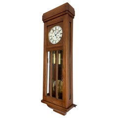 Beautiful and Stylish Arts & Crafts Era Handmade Oak Vienna Regulator Wall Clock