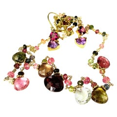 Beautiful Suite Handmade Tourmaline Necklace and Garnet and Amethyst Earrings