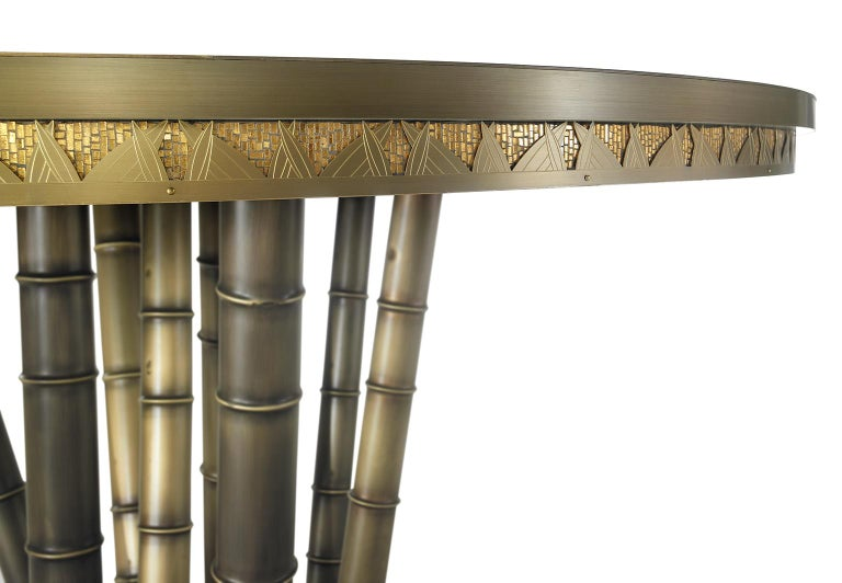 Other Beautiful Table bronzed Brass Top Decorative Mosaic Leg in Brass Glassy Ebony For Sale