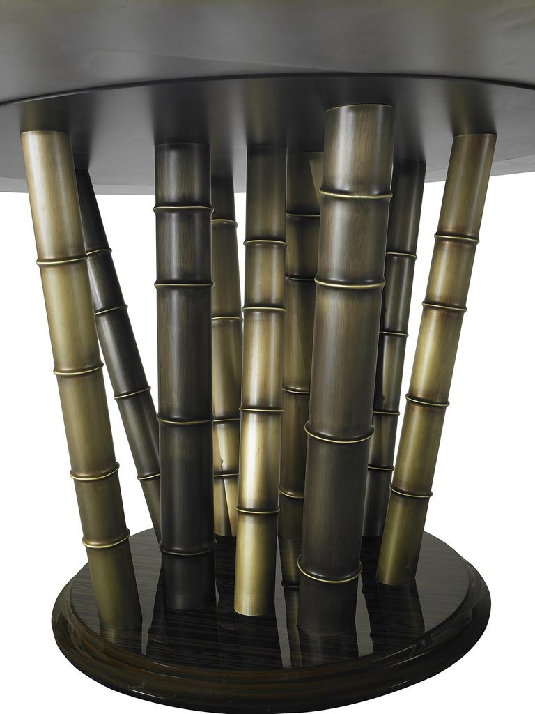 Italian Beautiful Table bronzed Brass Top Decorative Mosaic Leg in Brass Glassy Ebony For Sale