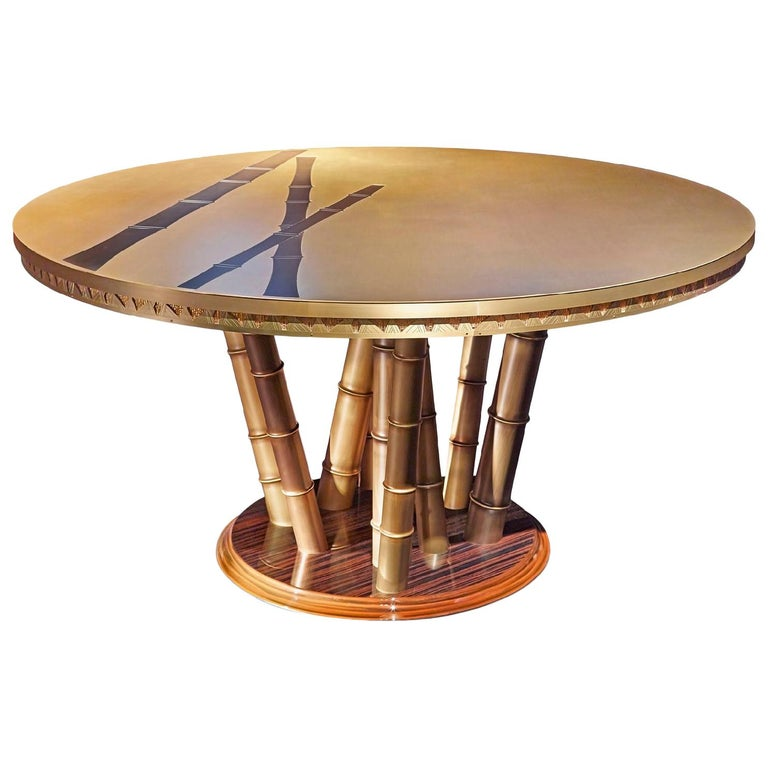 Beautiful Table bronzed Brass Top Decorative Mosaic Leg in Brass Glassy Ebony For Sale