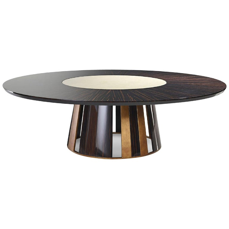 Beautiful Table Made in Stainless Steel Base in Polished Ebony Top in Vetrite For Sale
