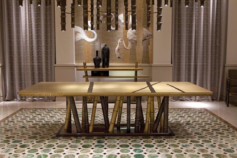 Italian Beautiful Table with 2 Tones Bronze Brass Top Decorative Mosaic Ebony Base For Sale