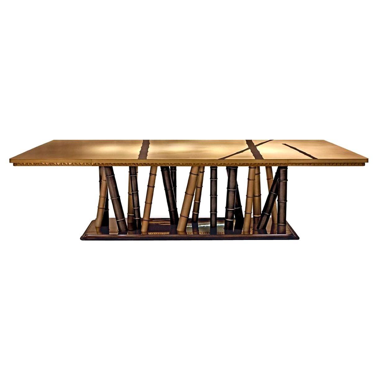 Beautiful Table with 2 Tones Bronze Brass Top Decorative Mosaic Ebony Base