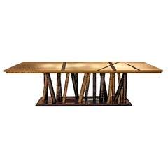 Beautiful Table with 2 Tones Bronze Brass Top Decorative Mosaic Ebony Base