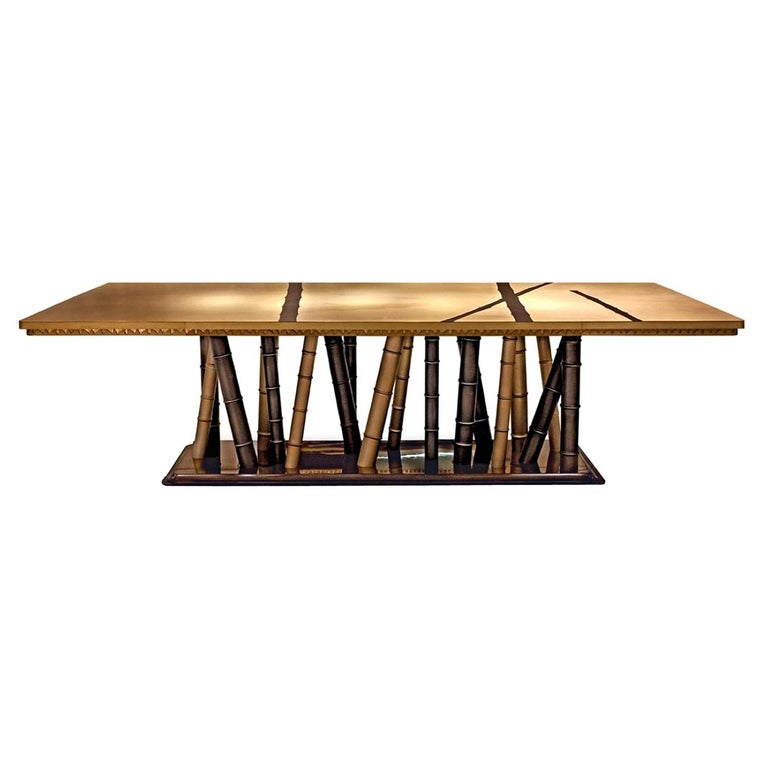 Beautiful Table with 2 Tones Bronze Brass Top Decorative Mosaic Ebony Base For Sale