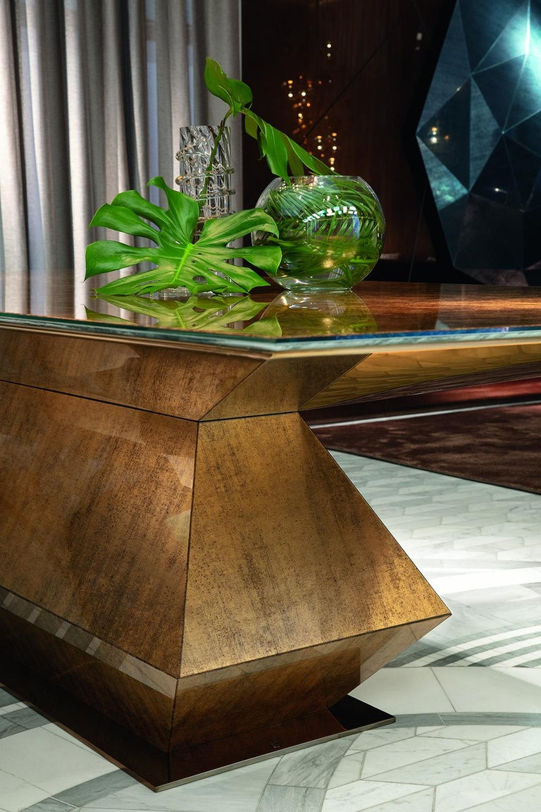 Italian Beautiful Table with Metal Frame, Clad in Vetrite Pergamino Gold For Sale