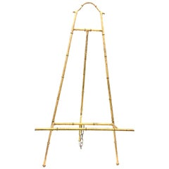 Beautiful Tall Continental Hollywood Regency Gilt Metal Faux Bamboo Easel