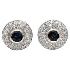 Beautiful Target Design 1.10 Ct Natural Sapphire 1.20 Ct G VVS Diamond Earrings