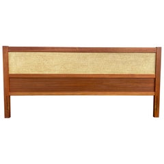 Beautiful Teak Grass Cloth Danish Mid-Century Modern King Headboard, Denmark