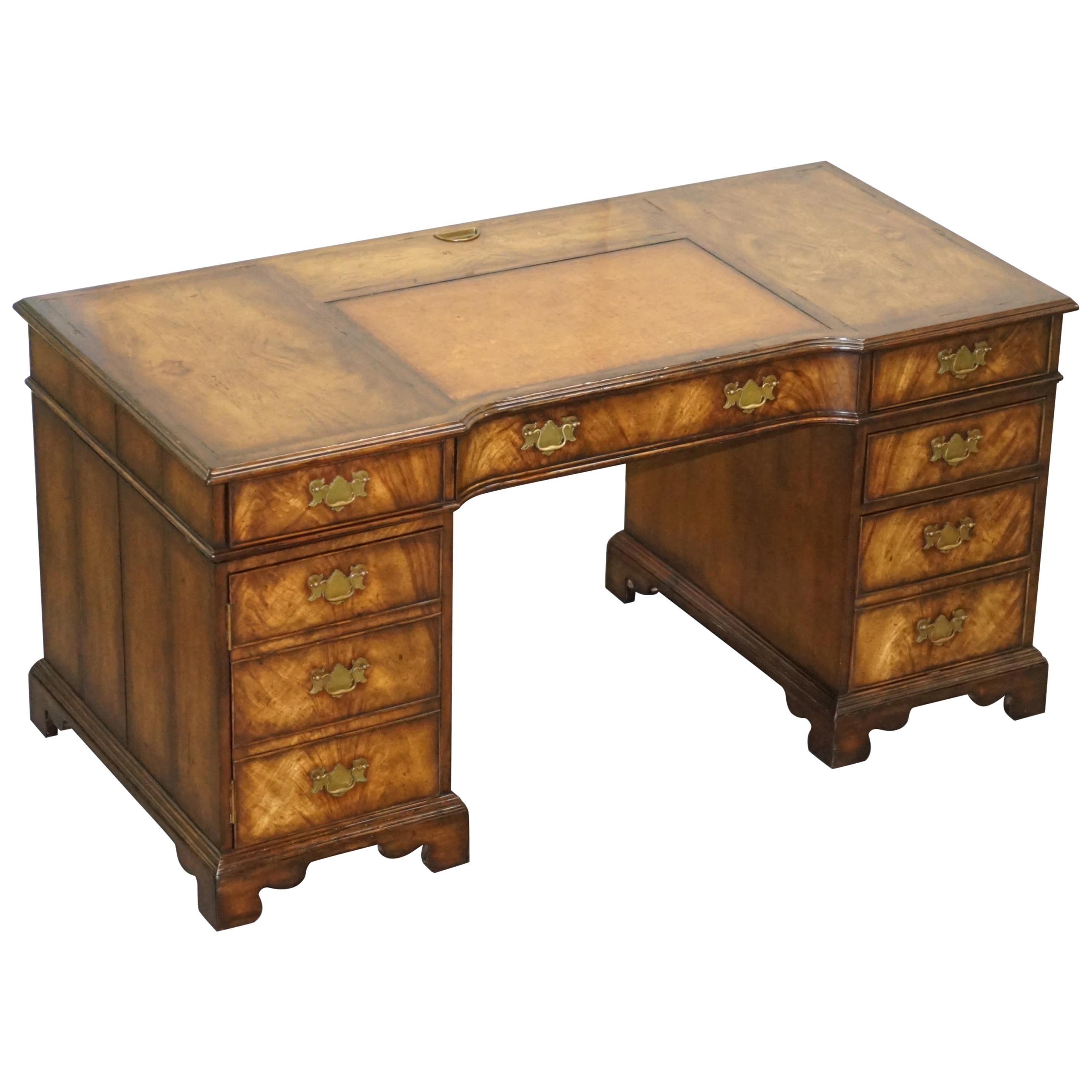 Beautiful Theodore Alexander Walnut & Brown Leather Hidden Computer Partner Desk