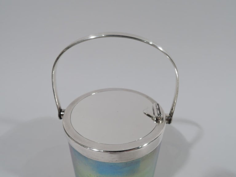 Beautiful Tiffany Art Nouveau Sterling Silver & Favrile Glass Jam Pot In Excellent Condition For Sale In New York, NY