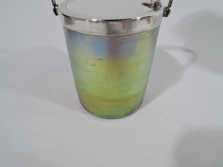 20th Century Beautiful Tiffany Art Nouveau Sterling Silver & Favrile Glass Jam Pot For Sale