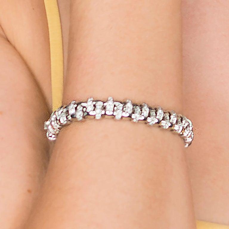 Tiffany & Co. Lattice 18k Gold and Diamond Necklace, Bracelet & Earring Suite For Sale 2