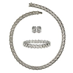 Tiffany & Co. Lattice 18k Gold and Diamond Necklace, Bracelet & Earring Suite