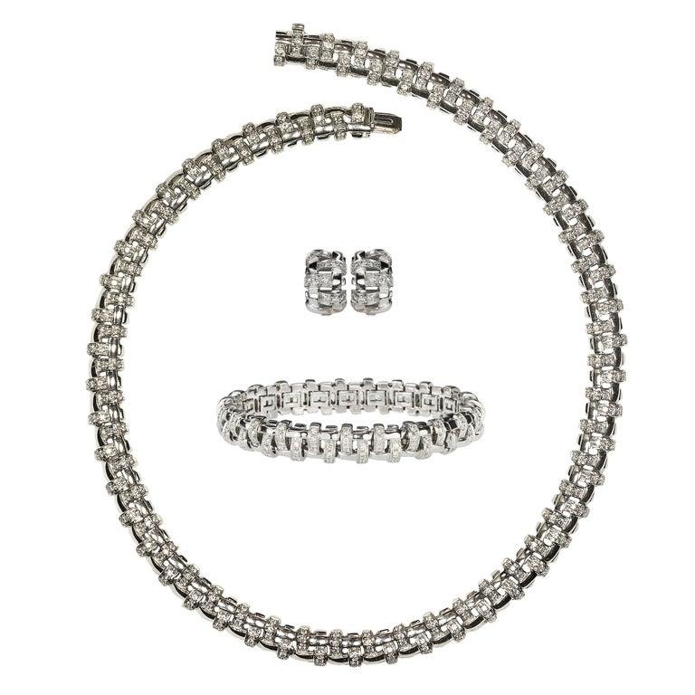 Tiffany & Co. Lattice 18k Gold and Diamond Necklace, Bracelet & Earring Suite For Sale
