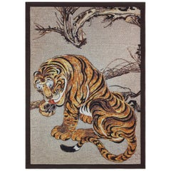 Beautiful Tiger Bedcover Blanket Silk Cashmere Wood