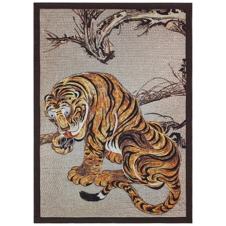 Beautiful Tiger Bedcover Blanket Silk Cashmere Wood For Sale