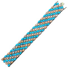 Beautiful Turquoise and Pink Coral Diamond Bracelet