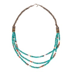 Beautiful Turquoise Tommy Singer Three Strand Necklace