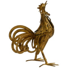 Beautiful, Unusual Metal Rooster from the 1930s as Decoration
