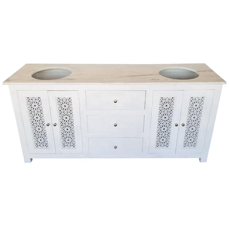 Beautiful Vanity From Moroccan With Three Drawers And Two Sink For
