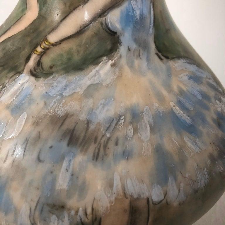 Beautiful Vase Porcelain De Paris Hand Painted French Cancan For Sale 6