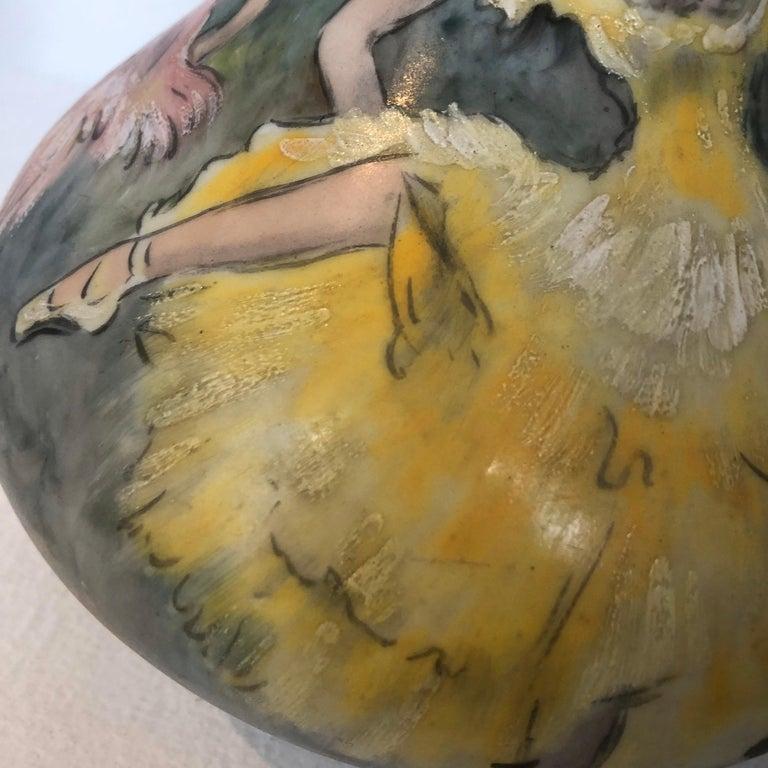 Hand-Painted Beautiful Vase Porcelain De Paris Hand Painted French Cancan For Sale