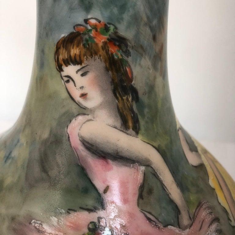 Beautiful Vase Porcelain De Paris Hand Painted French Cancan For Sale 1
