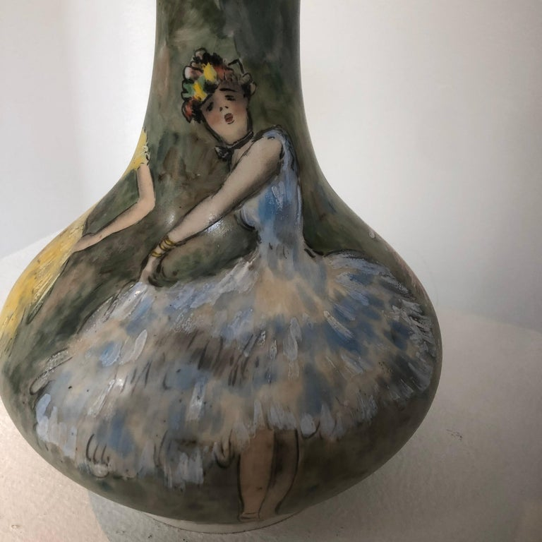 Beautiful Vase Porcelain De Paris Hand Painted French Cancan For Sale 4