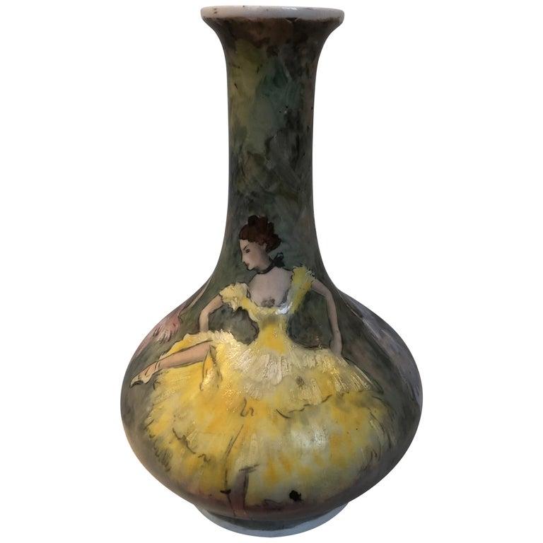 Beautiful Vase Porcelain De Paris Hand Painted French Cancan For Sale