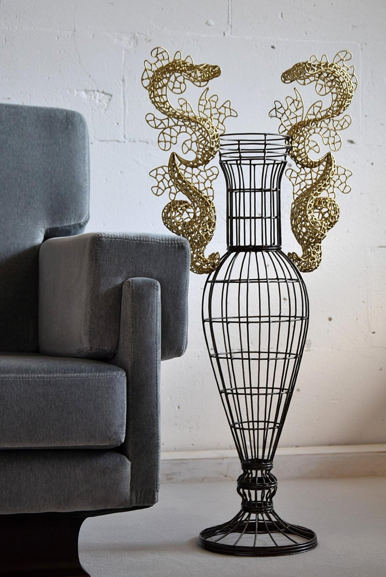 Big and rare hand welded lace technique vase sculpture made in Italy by Annacleto Spazzapan, (1943). After retiring from totally different occupations, he and his wife started B&B Progetti in 2011 of which this beauty is a result. The Vase has his