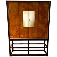 Beautiful Veneered, Ebonized and Parcel Gilt Television Cabinet