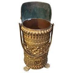 Beautiful Very Detailed Victorian Brass and Copper Coal Scuttle