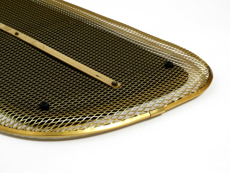 Beautiful, Very Rare Mid-Century Modern Wall Mirror with a Brass Grid Frame 7